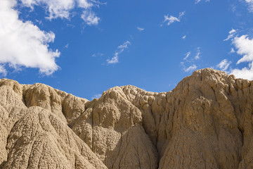 Badlands clay formations with no plants just sky