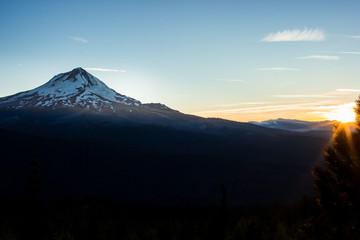 Sunset and dark Hood River Valley on Mt. Hood