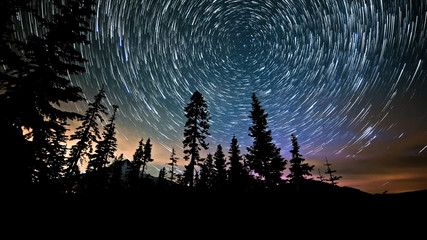 Mt. Hood and Aurora Night Sky Star Trails Over Oregon