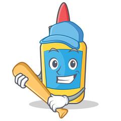 Playing baseball glue bottle character cartoon
