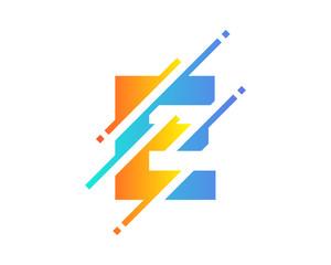 Digital Letter E Pixel Icon Logo Design Element
