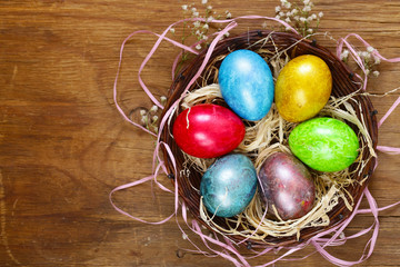 Happy Easter holiday! Decorative colorful eggs, symbol of a spring event