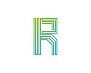 Single Line Letter R Icon Logo Design Element