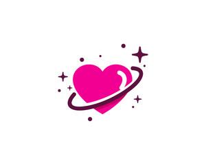 Love Planet Icon Logo Design Element