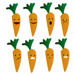 carrot emoji emoticon smiley with orange and green color isolated background