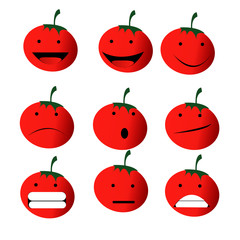 red tomatoes emoji emoticon smiley sad happy smile angry emoticon isolated white background