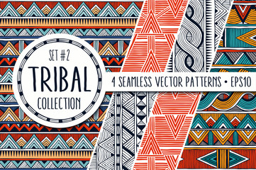 Foto op Plexiglas Boho Stijl Colorful ethnic patterns collection. Set of 4 modern abstract seamless ornaments. All patterns are available under the clipping mask. EPS10 vector illustration.