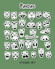 Funny pandas collection, sticker set for your design