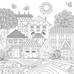 funny cityscape with butterflies for coloring book