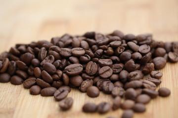 Coffee grains close-up.