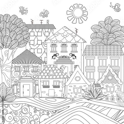 Funny Cityscape For Coloring Book Stock Image And Royalty Free Vector Files On Fotolia
