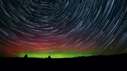 Rare Desert Aurora Night Sky Star Trails Over Oregon
