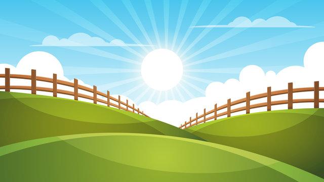 Fence, cartoon landscape. Sun, cloud sky illustration Vector eps 10