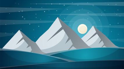 Travel night cartoon landscape. Fi, mountain, comet, star, moon road illustration Vector eps 10