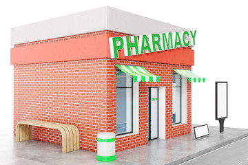 Pharmacy Store with copy space board isolated on white background. Modern shop buildings, store facades. Exterior market. Exterior facade store building, 3D rendering