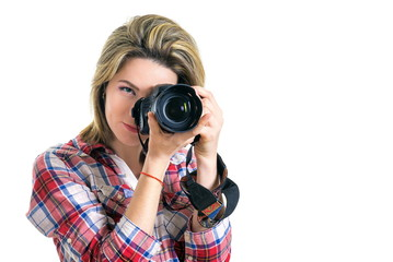 Beautiful Girl photographer. Girl with camera on white background. The girl takes pictures, hobbies like making money. modern youth. Smiling girl photographer