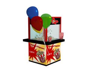 """Popcornmaschine mit deutschem Text """"frisches Popcorn"""" und Luftballons auf weiß isoliert aus seitlicher Ansicht"""
