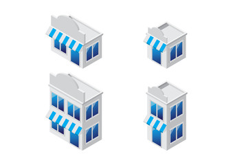 isometric store set, sale and shopping