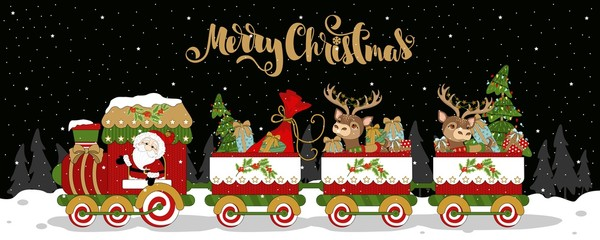 The Christmas train and carriages on winter background, snowflakes. With an inscription. Vector illustration.