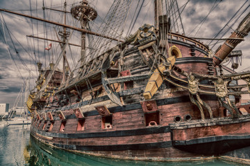 Wooden pirate ship in Genoa