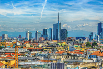 Zelfklevend Fotobehang Milan Milan new city view from above