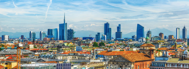 Spoed Fotobehang Milan Milan new city view from above