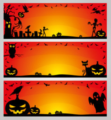 Halloween orange banners.