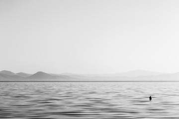 Wide and minimal view of a lake, with a small buoy on the water and distant hills, beneath a big, empty sky