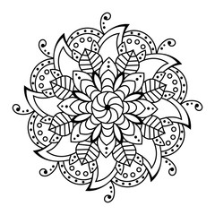 Black Pattern Vector flower Mandala. Design elements. Coloring book page. Oriental circle pattern, Islam, Arabic, Indian, Floral mandala Isolated on White.