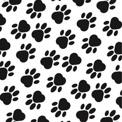 Paw print background. Footprint. Seamless background with footprint of dog, animal. Vector illustration