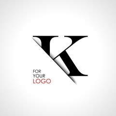Capital k letter is inserted in the paper slot. To create logos, emblems, monograms.