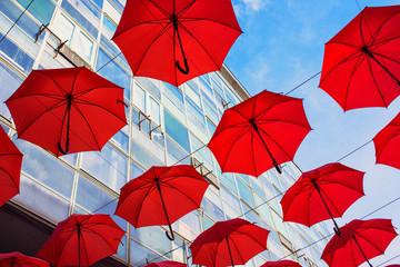 Red umbrellas decoration