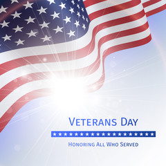 Veterans Day, Remember and Honor - poster with the flag of the United States