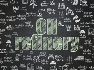 Manufacuring concept: Chalk Green text Oil Refinery on School board background with  Hand Drawn Industry Icons, School Board