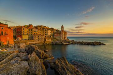 Foto auf Gartenposter Ligurien Scenic, peaceful evening in Tellaro, Liguria, Italy