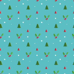 Christmas seamless pattern with trees, snowflakes and holly