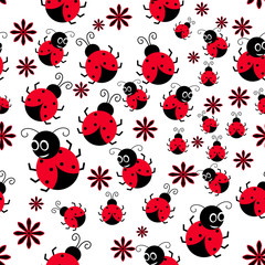 Seamless background with ladybug. Simple pattern. Vector illustration.