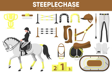 Steeplechase sport equipment horse racing rider garment accessory vector icons set