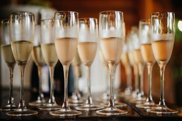 glasses with champagne at a festive reception.