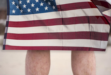 Man holding Flag of The USA