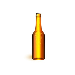vector realistic beer glass bottle with water drops golden brown mockup closeup without lebel. Ready for your design product packaging. Isolated illustration on a white background.