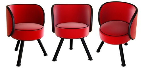 3d render of red velor armchair isolated on white background