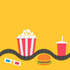 3D paper red blue glasses and big popcorn box. Soda with straw, hamburger. Film strip line. Fast food set. Cinema movie night icon in flat design style. Yellow background.