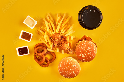 Fast Food Concept With Greasy Fried Restaurant Take Out As Onion