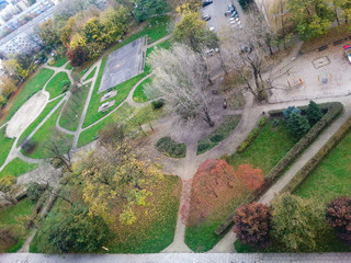 View from above to estate park