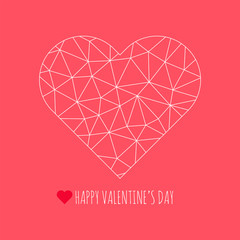 Happy Valentine's Day congratulation card. Vector polygonal heart symbol. Abstract triangle illustration for decoration, design