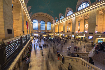 New York, United States of America - May 20, 2017: Inside view of the main hall of Grand Central Terminal Station with many people