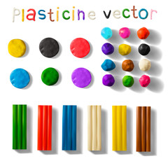Color plasticine set isolated on a white background. 3d Vector illustration.