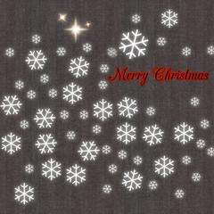Merry Christmas con sfondo in tessuto