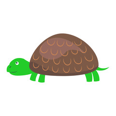 Cute Turtle Cartoon Flat Vector Sticker or Icon